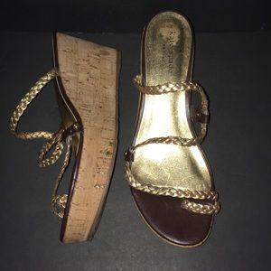 NWOT Kate Spade Gold Braided Cork Wedge Sandals 9M